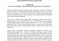 Kenyataan Akhbar MALAYSIAN NATIONAL CANCER REGISTRY REPORT 2012 - 2016 (MNCRR)