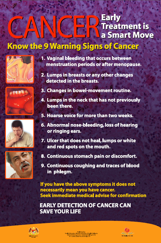 KNOW 9 WARNING SIGNS OF CANCER